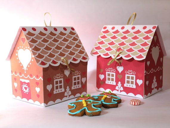 gingerbread house gift box template  Gingerbread house cookie gift box Printable templates, Instant download DIY  template/pattern to print & make gift boxes - by Happythought.