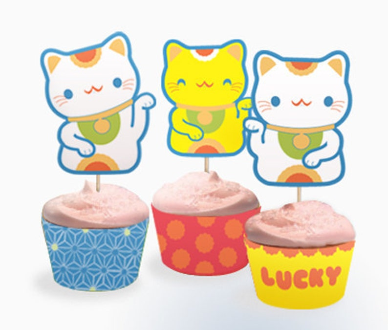 Lucky Cat cupcake set PDF templates image 0