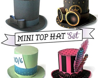 DIY Mini top hat templates and patterns. Easy no-sew step by step instructions included. 8 fabulous mini top hat designs by Happythought.