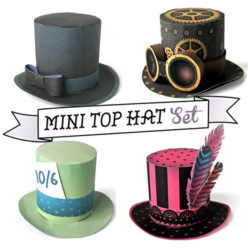 322aa0868dc Mini top hat templates patterns with an easy no-sew step by