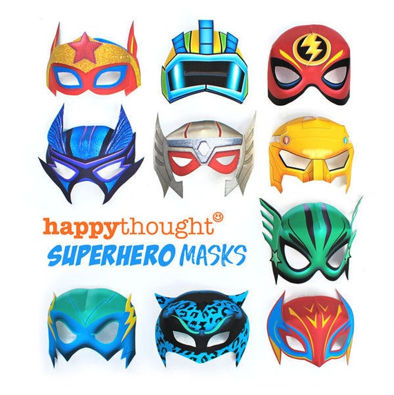 10 Printable Superhero Masks Includes Coloring In
