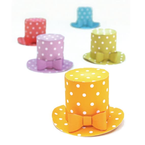 polka dot mini top hat templates patterns with an easy no sew step