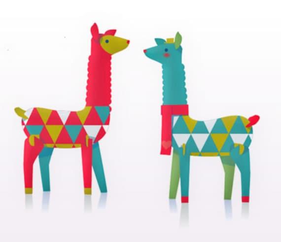 lovely festive llamas printable paper ornament kit download