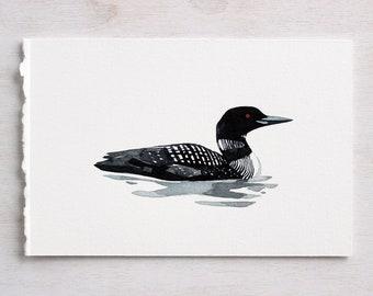 Common Loon Original Watercolor Painting, bird artwork
