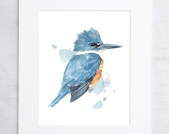 Kingfisher Watercolor Print, 8x10 bird painting wall art