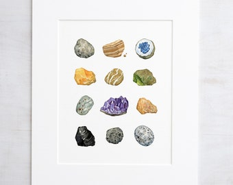 Rock Mineral Collection Art Print 8x10 Watercolor