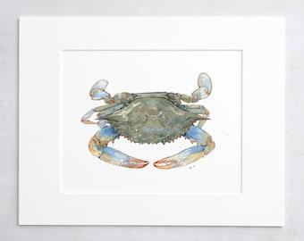 Blue Crab Watercolor Art Print, Coastal Decor, Crab Wall Art 5x7