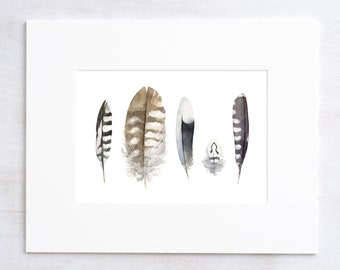 Striped Feathers Watercolor Painting - 5x7 Print
