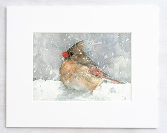 Female Cardinal Watercolor Art Print, Bird in snow painting