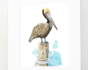 Pelican Watercolor Art Print, nautical bird painting, coastal decor