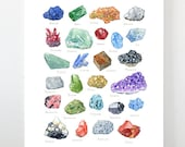 Minerals Watercolor Alphabet Art Print, Gemstone Painting, Crystal Poster