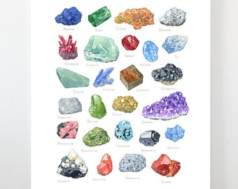Minerals watercolor alphabet art print, gemstone painting, crystal watercolor 11x14