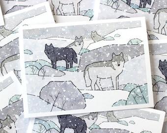 Wolf Pack Holiday Card Set, Whimsical wildlife Christmas stationery