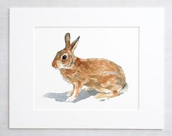 Wild rabbit watercolor print, nature art, animal watercolor painting