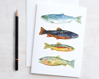 Fish watercolor art card, fathers day card, colorful trout and fly fishing card