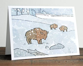 Bison Holiday Card - winter wildlife Christmas card, whimsical card for him