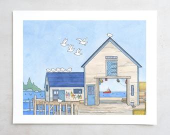Lobster Fishing Dock, Maine Fishing Town Nautical Art Print, Kids Room Decor