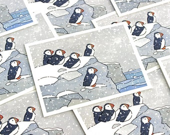 Puffins in Snow Holiday Card Set