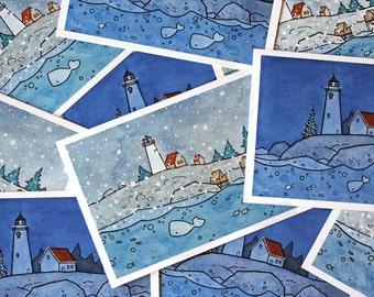 Whale Coastal Christmas Cards Set - Pack of 10