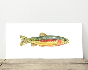 Golden Trout Watercolor Painting Fish Print