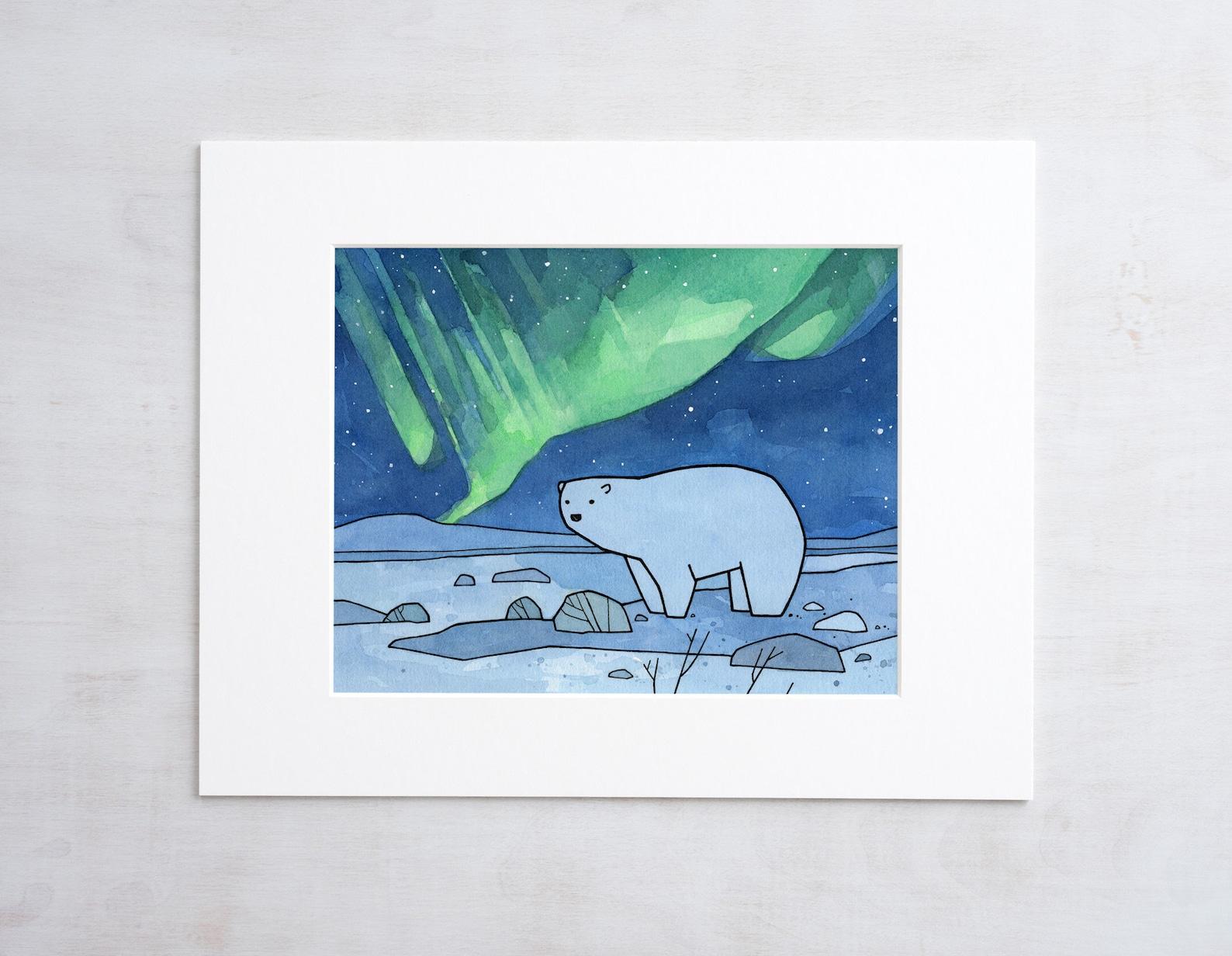 Картинки белые медведи северное сияние мультяшные