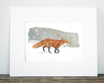 Red Fox in snow watercolor painting print