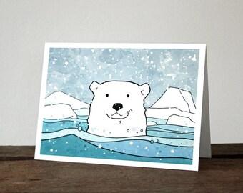 Polar Bear Card - illustrated animal holiday card, Christmas stationery