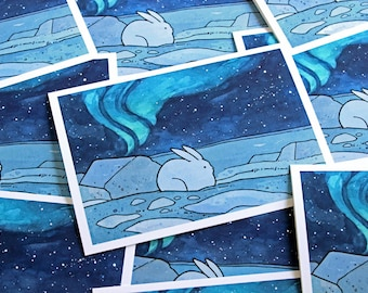 Snowshoe Hare and Northern Lights Holiday Card Set
