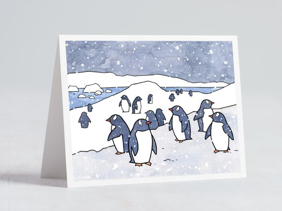 penguins card winter stationary animal card etsy