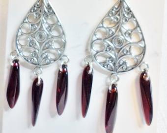 Filigree Teardrop Chandelier Earrings w/Garnet Dagger Beads