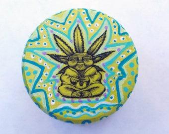 Chill Yoda nug stash box, ring box, jewelry box, handpainted,original art decal,