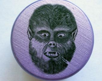Purple Wolfman stash box, ring box, nug box, hand painted, original art