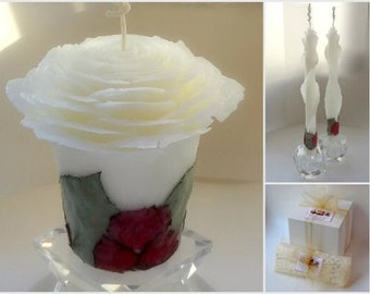 Romantic Floral Unity Candle, Unique Beeswax Rose Candle, Fall Wedding Decor, Fairytale Wedding Ceremony, Sweetheart Table Centerpiece