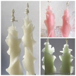 Set of 2 Beeswax Rose Tapers, 9 Colors, Unique Taper Candles, Decorative Candles, Thank You Gift Hostess, Home Decor Accents, Table Decor