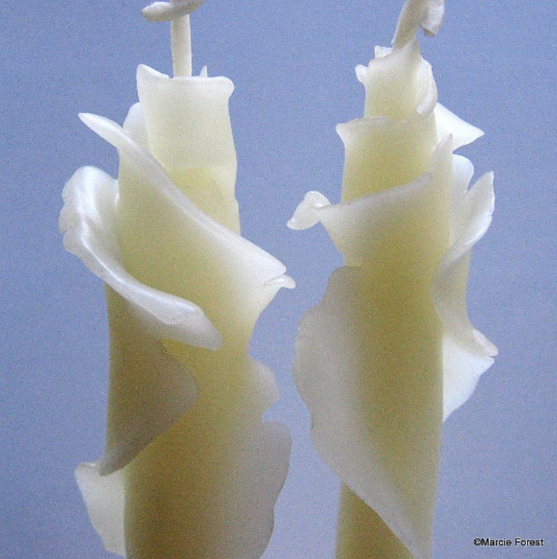 White Beeswax Rose Taper Candles Hygge Candles Rose Petals image 0