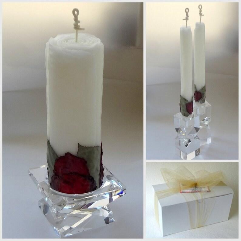 Rose Unity Candle Set for Wedding 4 Petal Colors Unique image 0