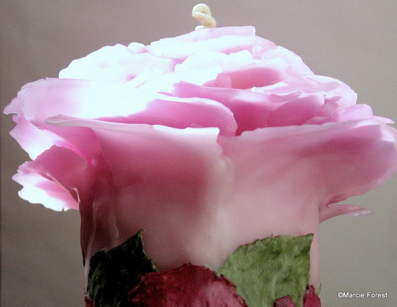 Unique Beeswax Rose Candle 4 Colors Avail Peach Purple Blue image 0
