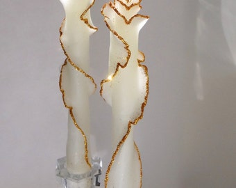 Set of 2 White & Gold Candles, Unique Gift, Beeswax Glitter Rose Taper Candles with Gold or Silver Trim, Decorative Candle, Elegant Decor