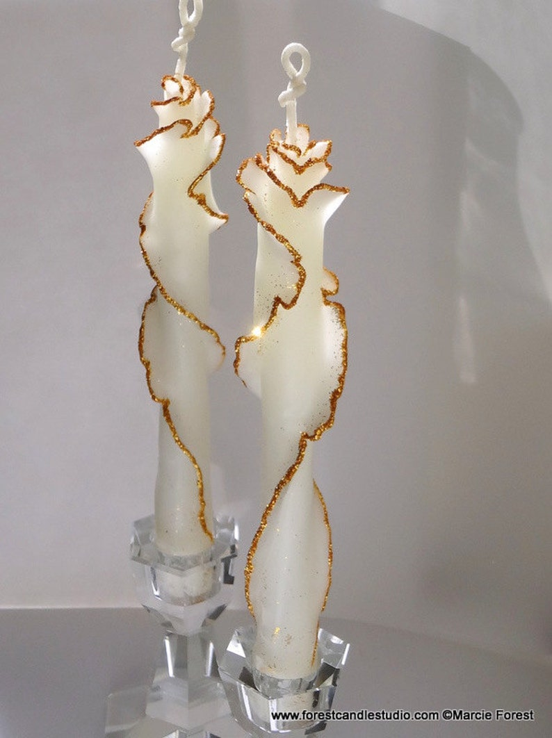 Set of 2 Decorative Taper Candles White & Gold Decor Candles image 0