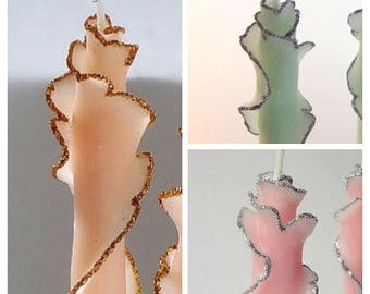 Single Glitter Rose Taper Candle, You Pick Size & Color w/ Silver or Gold, Unique Candle Gift, Sympathy, Hostess Thank You, Birthday