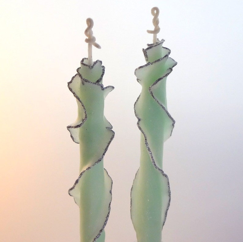 Green & Silver Decorative Taper Candles Fancy Holiday Candle image 0