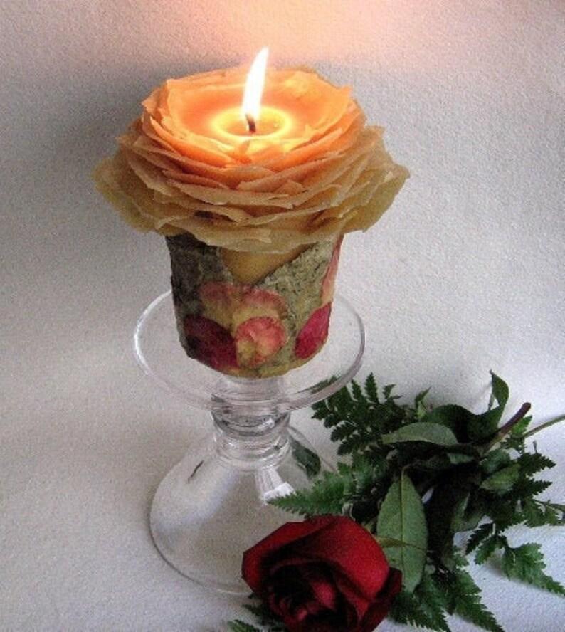 White or Honey Beeswax Rose Unity Candle Set Nature Wedding image 0