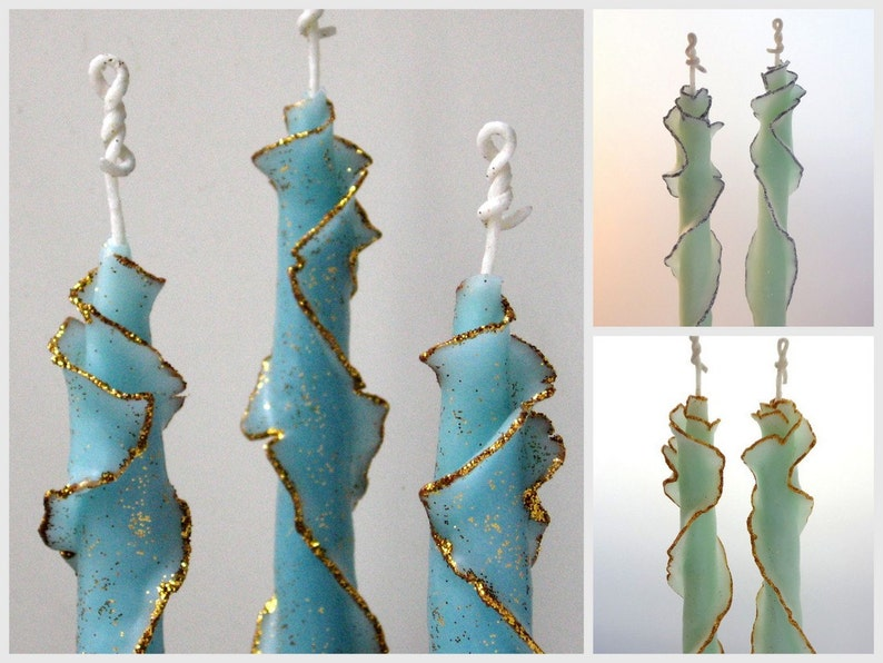 Decorative Taper Candle Set 3-6 Glitter Taper Candles Fall image 0