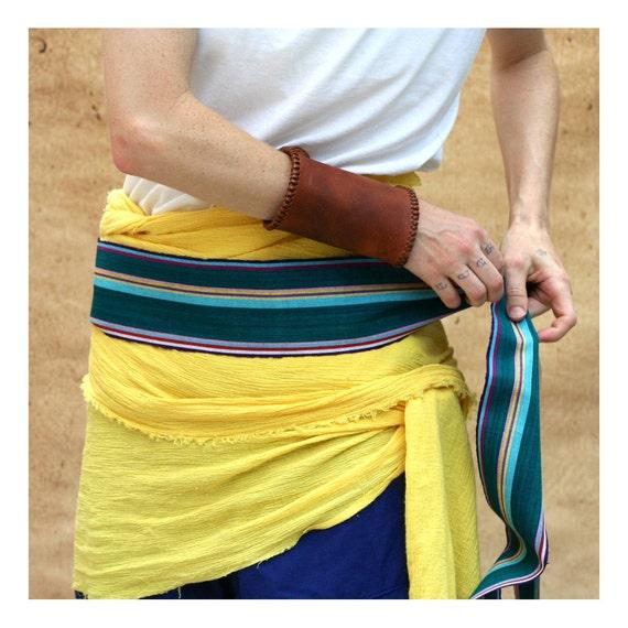 Guatemalan Fabric 2CHOICES Pirate Sash Belt Bohemian Belt Warm White Sash