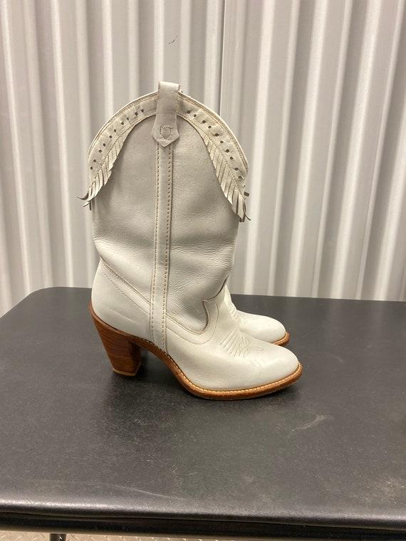 White Fringe Heeled Cowboy Boots