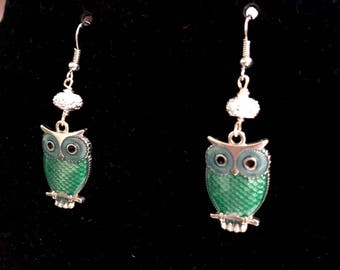 Green and Silver Owl Earrings