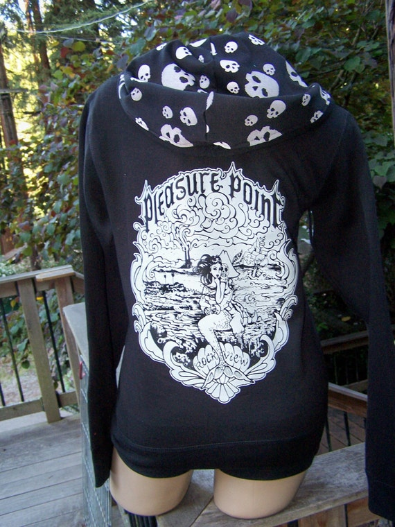 ROCKVIEW Mermaid and Sugar Skull Pirate Full Zip Sweatshirt! Skull print hood!!  FREE SHIPPING!!