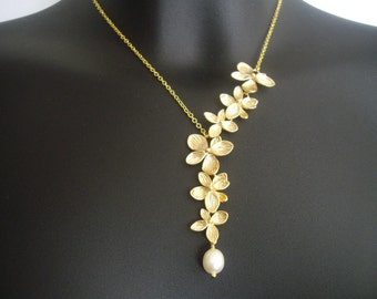 Flower Lariat Necklace, Asymmetrical Necklace, Bridesmaid Necklace, Wedding Jewelry, Gift