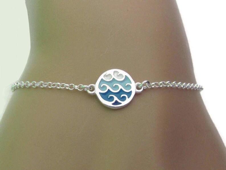 Tiny Enamel wave Bracelet Sterling Silver Bracelet Wave image 1