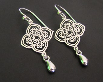 Ethnic Flower Earrings, Sterling Silver Earrings, Jewelry, Drop Earrings, Dangle Earrings, Gift for Her